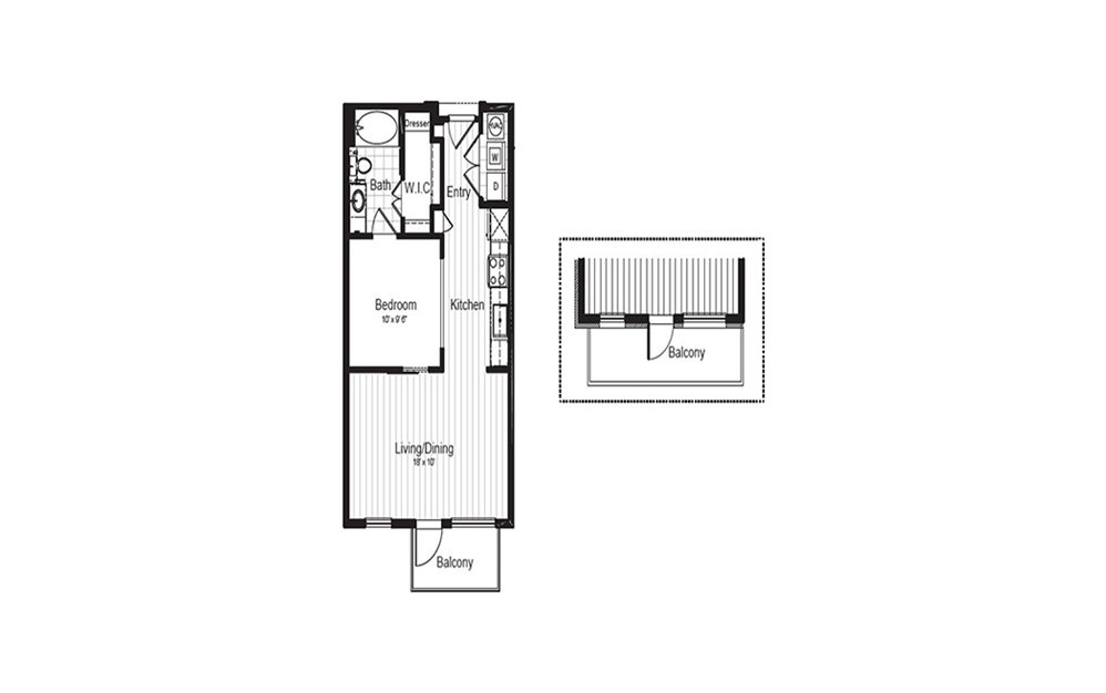A0 - 1 bedroom floorplan layout with 1 bath and 597 square feet.