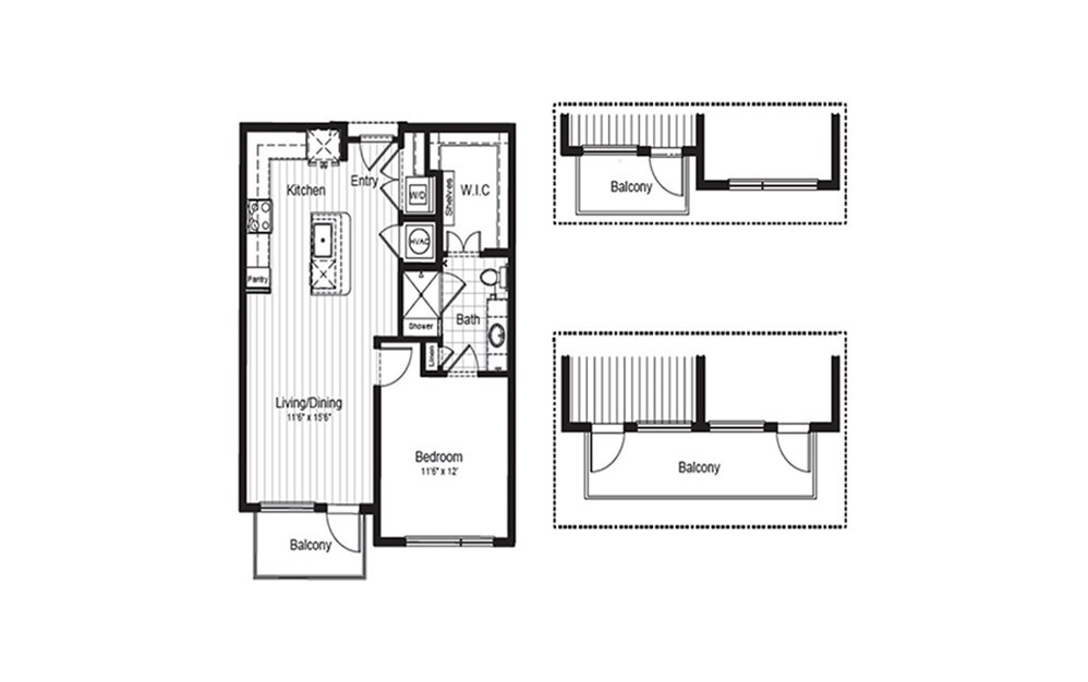A3.1 - 1 bedroom floorplan layout with 1 bath and 709 to 739 square feet.