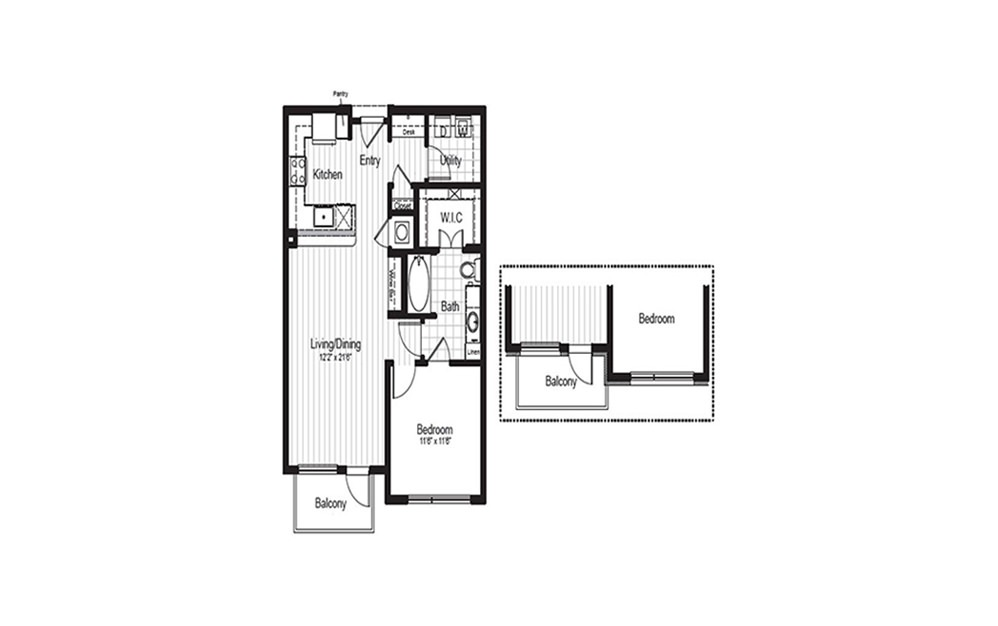 A5 - 1 bedroom floorplan layout with 1 bath and 792 square feet.