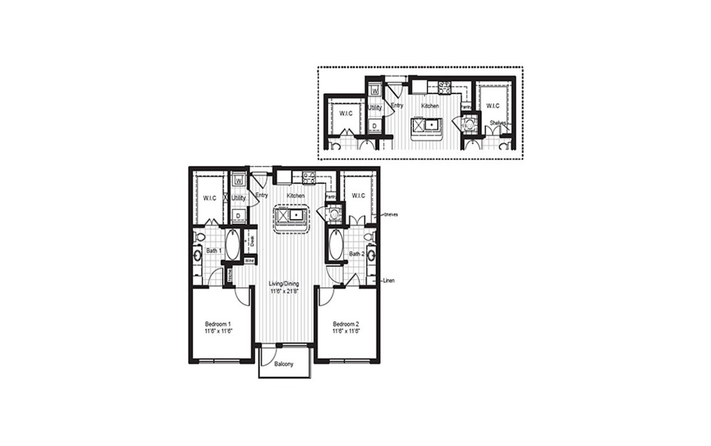 B2 - 2 bedroom floorplan layout with 2 baths and 1061 to 1083 square feet.