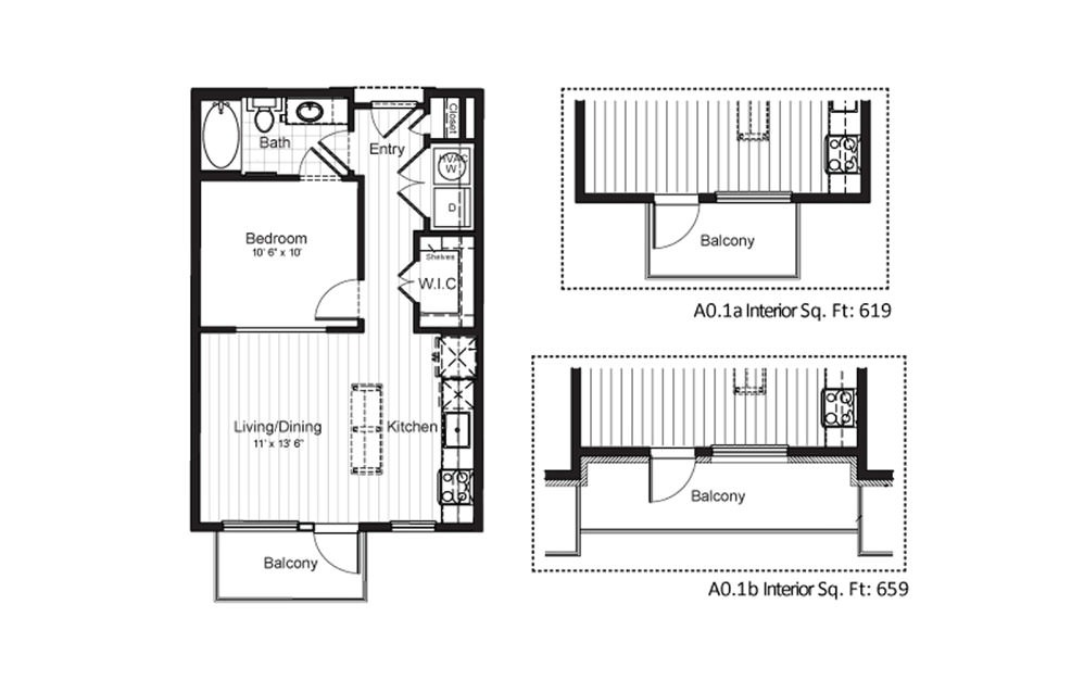 A0.1 - 1 bedroom floorplan layout with 1 bath and 569 square feet.