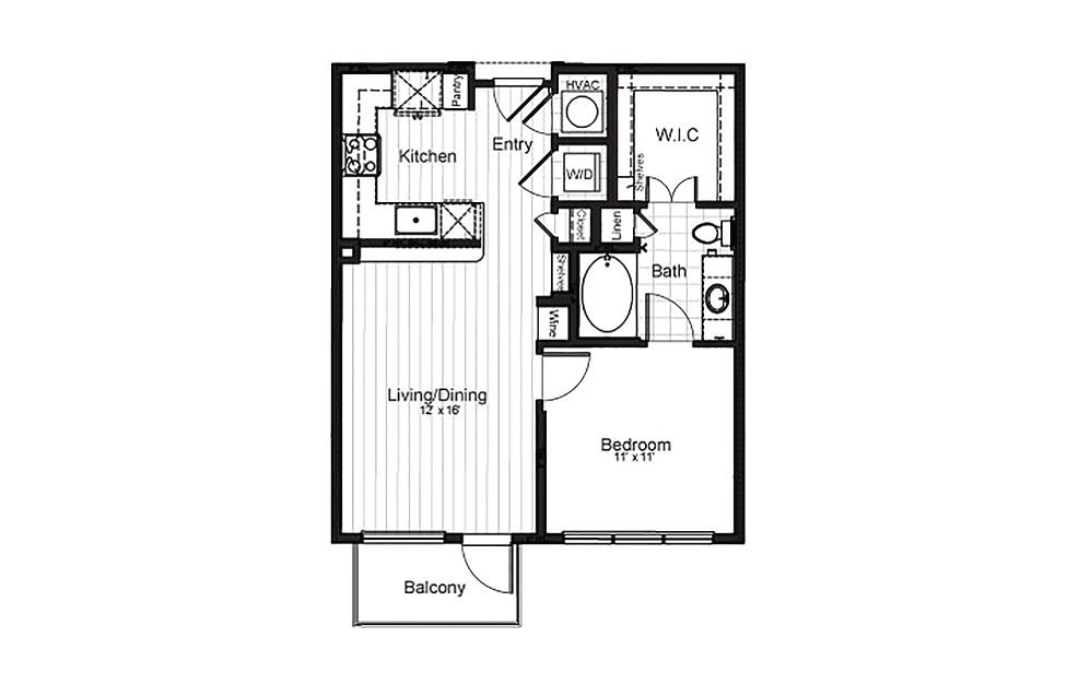 A1 - 1 bedroom floorplan layout with 1 bath and 679 square feet.