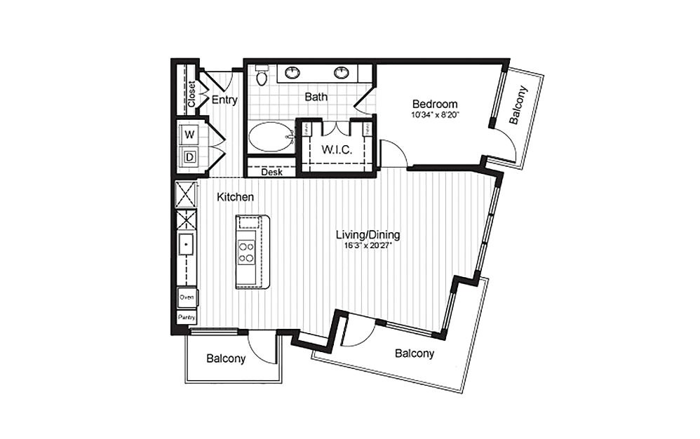 A10 - 1 bedroom floorplan layout with 1 bath and 905 square feet.