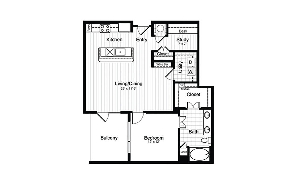 A11 - 1 bedroom floorplan layout with 1 bath and 925 square feet.