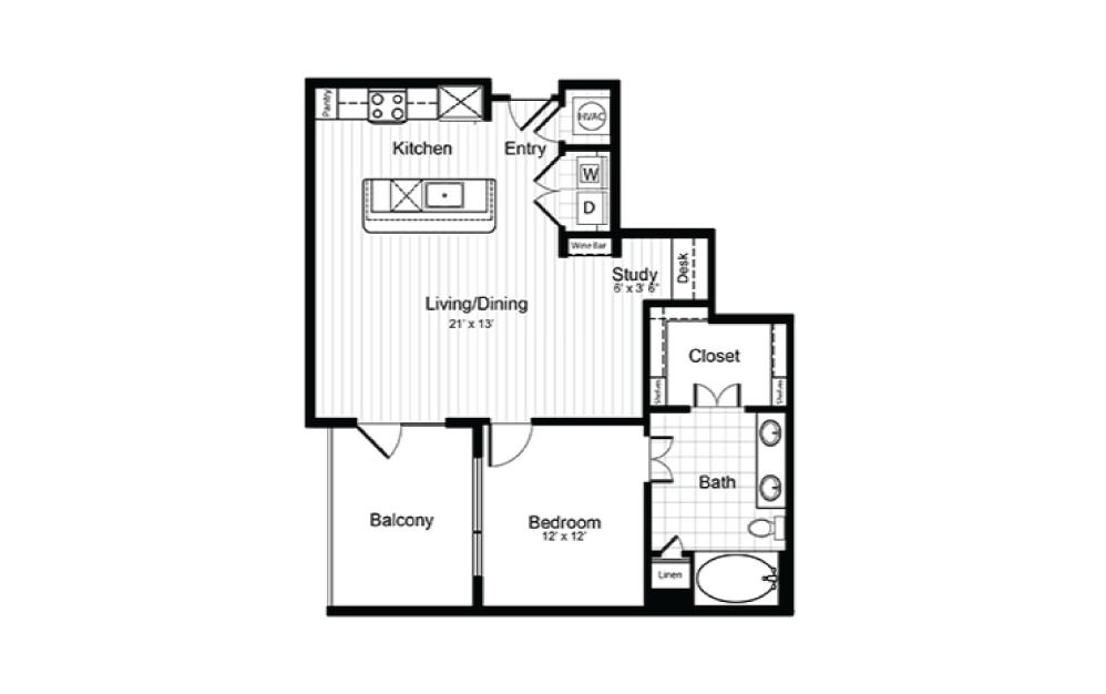 A11.1 - 1 bedroom floorplan layout with 1 bath and 862 square feet.