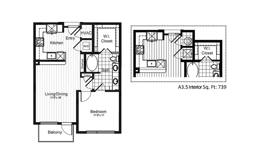 A3 - 1 bedroom floorplan layout with 1 bath and 689 to 710 square feet.