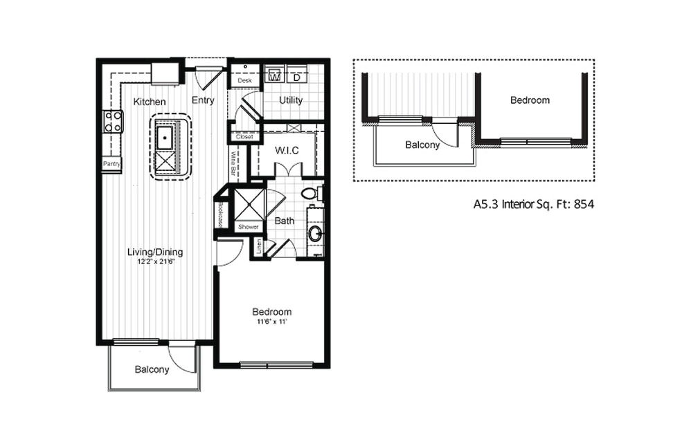 A5.1 - 1 bedroom floorplan layout with 1 bath and 792 square feet.