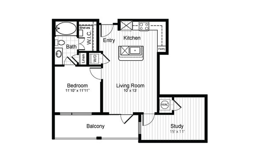 A6 - 1 bedroom floorplan layout with 1 bath and 770 square feet.