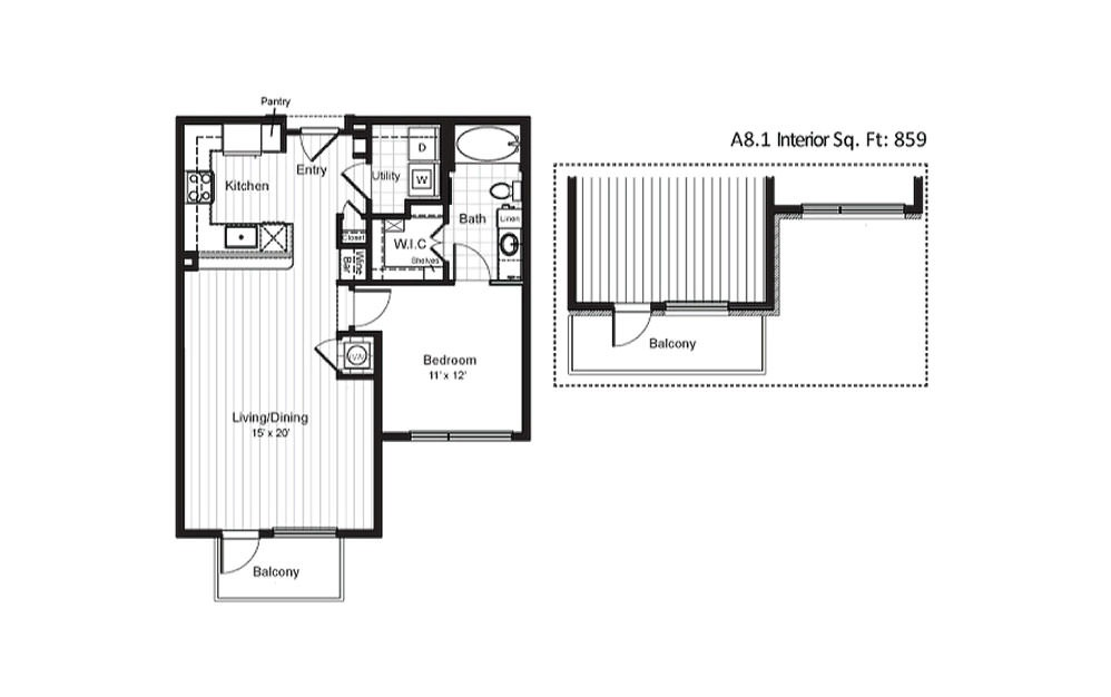 A8 - 1 bedroom floorplan layout with 1 bath and 783 square feet.