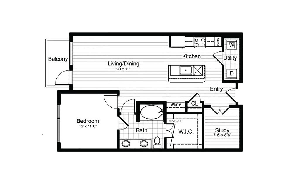 A9 - 1 bedroom floorplan layout with 1 bath and 889 square feet.