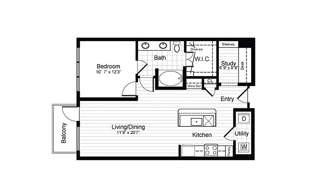 A9.1 - 1 bedroom floorplan layout with 1 bath and 858 square feet.