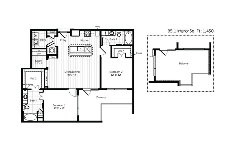 B5 - 2 bedroom floorplan layout with 2 baths and 1211 square feet.